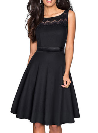 Cotton Blends With Solid Knee Length Dress