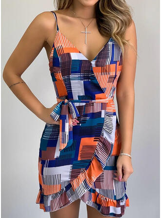 Print Sleeveless Sheath Above Knee Sexy/Casual/Vacation Dresses