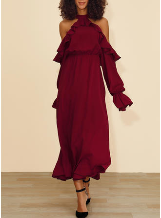 Solid Long Sleeves/Cold Shoulder Sleeve A-line Maxi Casual/Elegant Dresses