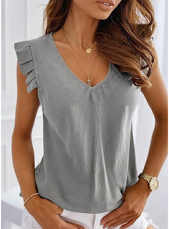 Solid V-Neck Sleeveless Casual Elegant Tank Tops