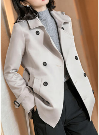 Mieszanki bawełniane Długie rękawy Jednolity kolor Trencz Płaszcze