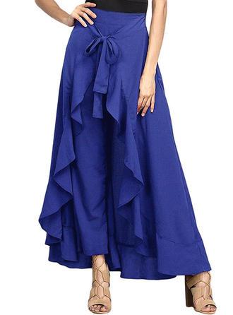 Cotton Blends Plain Maxi A-Line Skirts