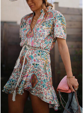 Print Short Sleeves A-line Asymmetrical Casual/Vacation Dresses