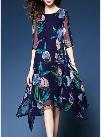 Print/Floral 1/2 Sleeves Shift Asymmetrical Vintage/Casual/Elegant Dresses