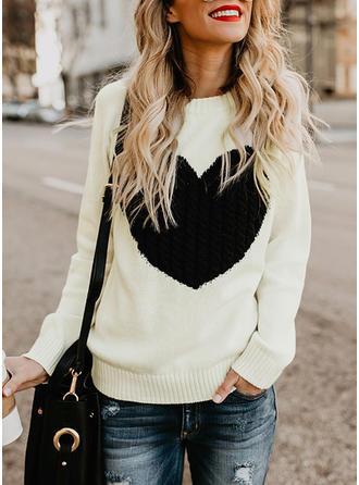 Mieszanki bawełniane Okrągły Dekolt Patchworkowa Swetry