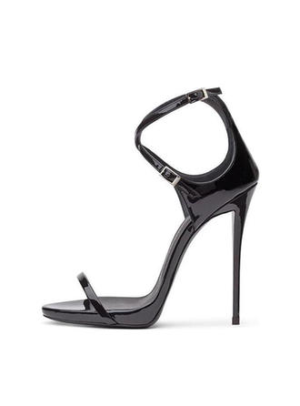 Women's Patent Leather Stiletto Heel Sandals Pumps Peep Toe With Buckle shoes