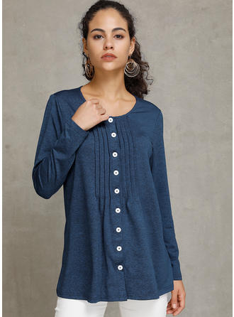 Solid Round Neck Long Sleeves Button Up Knit T-shirts