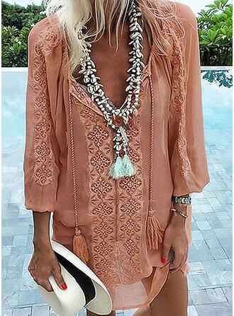 Print Long Sleeves Shift Above Knee Casual/Boho/Vacation Dresses