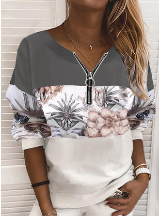 Print Color Block Floral V-Neck Long Sleeves Sweatshirt