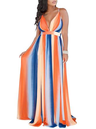 Striped Spaghetti Straps Maxi A-line Dress