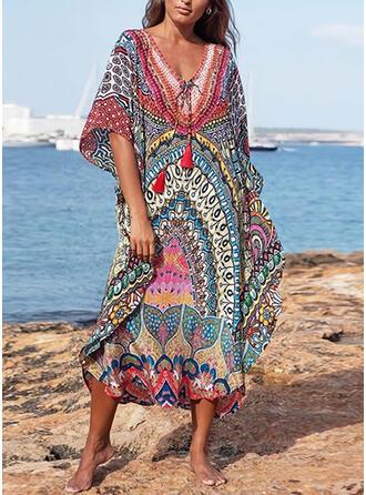 Print/Tassel 1/2 Sleeves Shift Tunic Casual/Boho/Vacation Midi Dresses