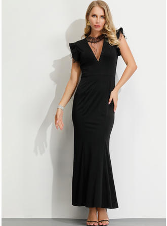 Lace/Solid Short Sleeves Sheath Maxi Little Black/Party Dresses