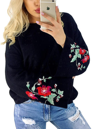 Cotton Spandex Polyester Round Neck Embroidery Sweater