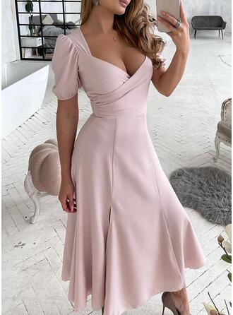 Solid/Backless Mâneci Scurte/Mâneci Bufante Tip A-line Patenci Elegant Maxi Elbiseler
