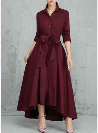 Sólido Manga Larga Acampanado Asimétrico Casual/Elegante Vestidos