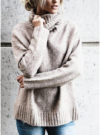 Polyester Turtleneck Plain chunky knit Sweater