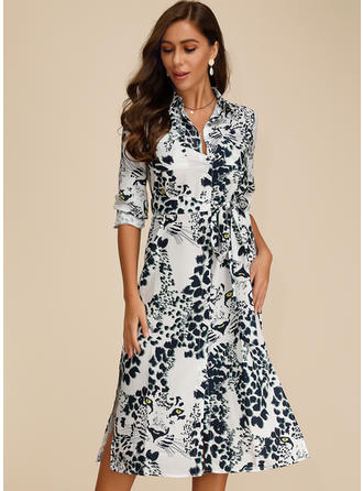 Animal Print Long Sleeves A-line Midi Casual Dresses