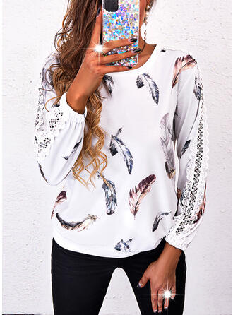 Plume Dentelle Col Rond Manches Longues Sweat-shirts