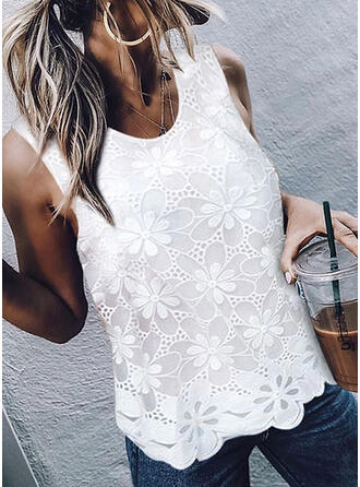 Solid Lace Round Neck Sleeveless Casual Knit Tank Tops