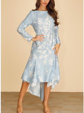 Print Long Sleeves A-line Asymmetrical Casual/Elegant Dresses