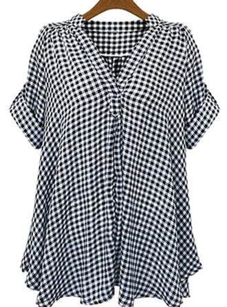 Cotton V Neck Print Short Sleeves Shirt Blouses