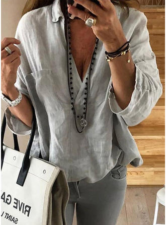 Solid Lapel Long Sleeves Casual Sexy Blouses
