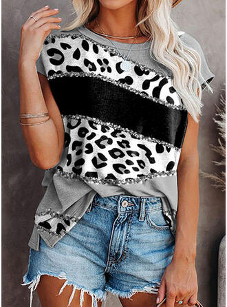 Color Block Leopard Sequins Round Neck Short Sleeves T-shirts