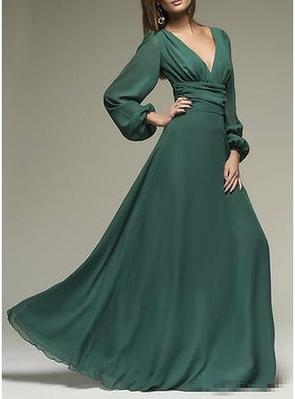 Solid Long Sleeves A-line Casual/Party Maxi Dresses