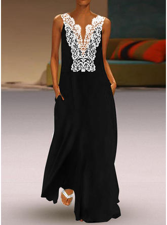 Lace/Solid Sleeveless Shift Maxi Party/Elegant Dresses