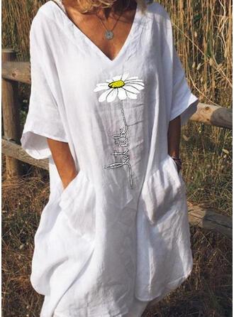 Imprimée Manches 1/2 Droite Longueur Genou Décontractée/Vacances Robes