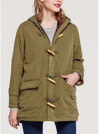 Spandex Bawełna Długie rękawy Jednolity kolor Szerokie Płaszcze