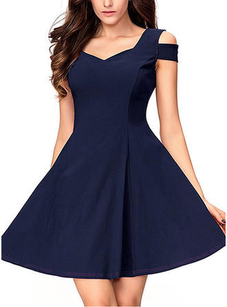 Solid Strap Above Knee A-line Dress