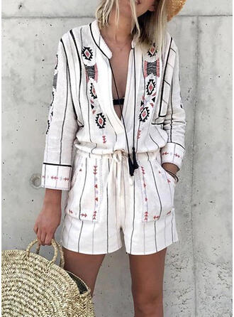 Print V-Neck Long Sleeves Casual Vacation Romper