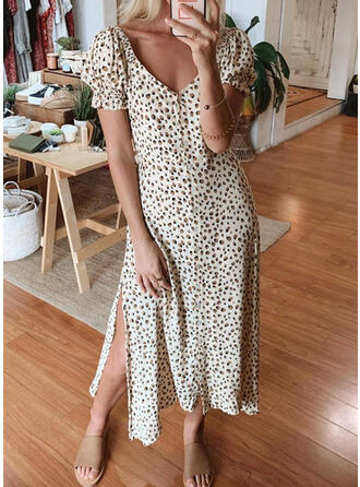 Leopard Short Sleeves/Puff Sleeves A-line Casual/Elegant Midi Dresses