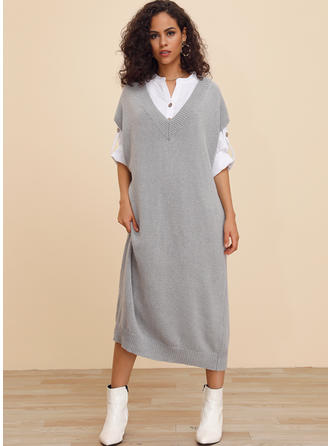 Solid Short Sleeves Shift Midi Casual Dresses