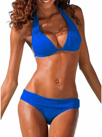 Solid Color Low Waist Halter Sexy Bikinis Swimsuits