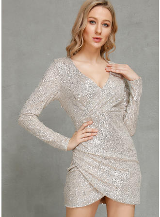 Sequins/Solid Long Sleeves Bodycon Above Knee Party/Elegant Dresses