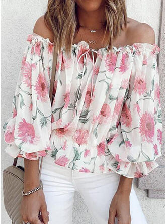 Print Bloemen Off the Shoulder 3/4 Mouwen Casual Overhemd