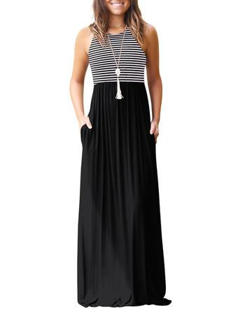 Striped Sleeveless A-line Maxi Casual Dresses