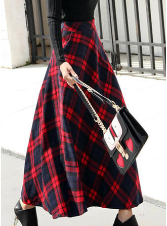 Coton Plaid Maxi Jupes trapèze