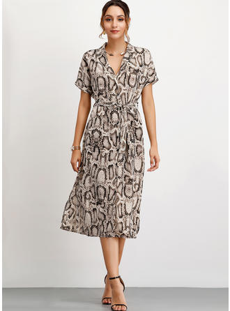 Animal Print Short Sleeves A-line Midi Casual Dresses