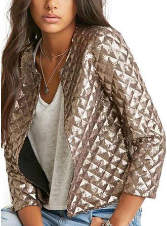 Cotton Blends 3/4 Sleeves Plain Jackets