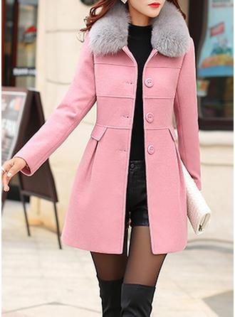 Bawełna Długie rękawy Jednolity kolor Szerokie Płaszcze