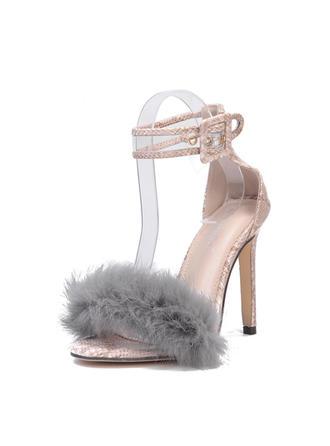 Women's PU Stiletto Heel Sandals Pumps Peep Toe With Buckle Fur shoes
