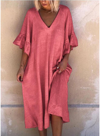Solid 1/2 Sleeves/Flare Sleeves Shift Knee Length Casual/Vacation Dresses