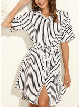 Striped Short Sleeves Sheath Knee Length Casual Shirt Dresses