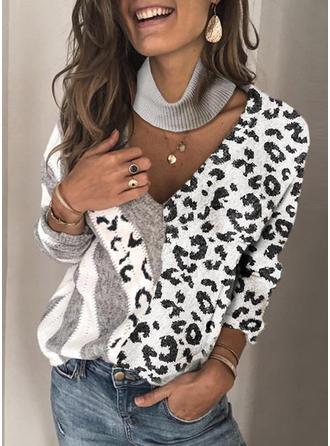 Color Block Animal Print V neck Sweaters