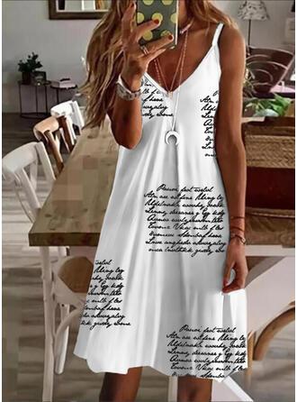 Print/Letter Sleeveless A-line Knee Length Casual Slip/Skater Dresses