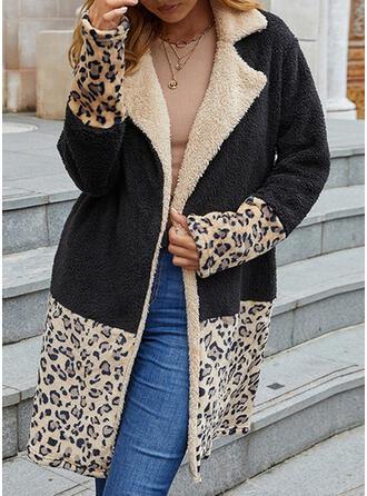 Långa ärmar Color Block Leopard Cardigans