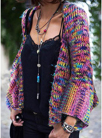 Polyester Manches longues Striped Cardigans